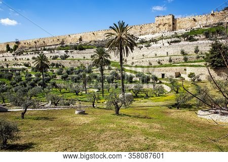 View Of The Golden Gate Of The Walls Of The Old City Of From The Mount Of Olives. Mount Of Olives -