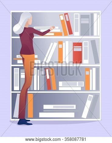 Grey-haired Aged Female Librarian Puts Books On Shelf In Order Cartoon. Woman Chooses Paper Editoria