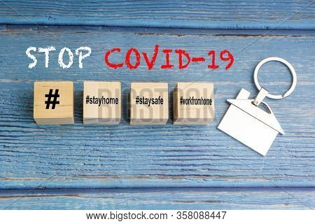 Concept Image A Wooden Block And Word - #wfh ( Work From Home, Stay Home And Stay Safe On Wooden Bac