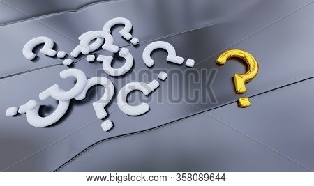 3d Illustration Of Several White Question Mark And One Big Gold Question Mark Put On A Grey Metallic