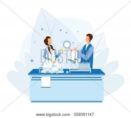 Cartoon Man And Woman Characters Couple Washing Dishes After Cooking Or Eating. Lady Giving Guy Clea