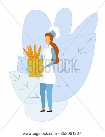 Faceless Female Chef Character Standing On Flat Plants Foliage, Holding Basket With Fresh Baked Brea