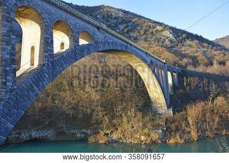 The Solkan Bridge Over The Soca River, Near Solkan, Near Nova Gorica In Primorska, Western Slovenia.