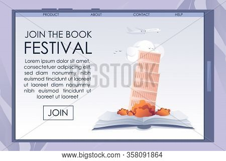 Mobile Screen With Promotion Book Festival Banner. Advertising Text. Open Paper Editorial Material W