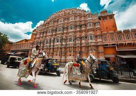 Jaipur, India - October 09: Hawa Mahal Palace - Palace Of The Winds On October 09, 2013, Jaipur, Ind