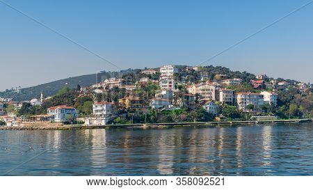 View Of Burgazada Island From The Sea With Summer Houses. The Island Is The Third Largest One Of Fou