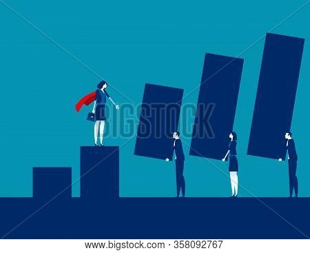 Leader Projecting Future Profits. Concept Business Graph And Profit Vector Illustration, Profit Proj