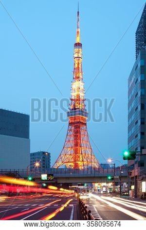 Tokyo Tower At Dusk In Minato Ward, Tokyo, Kanto Region, Honshu, Japan