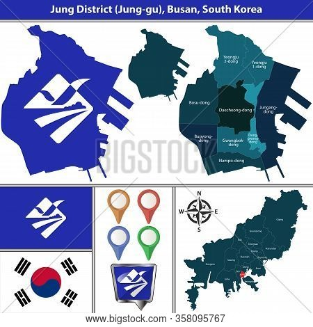 Vector Map Of Jung District Or Gu Of Busan City In South Korea With Flags And Icons