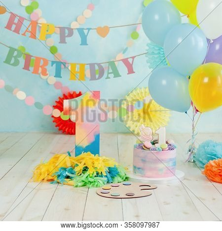 First Birthday Smash The Cake. Festive Background Decoration For Birthday With Cake, Cake Smash Firs