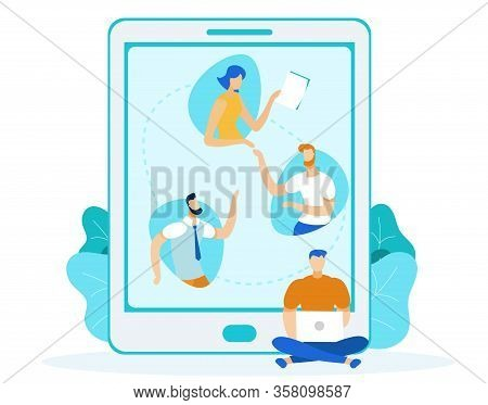 Freelancer Sitting With Laptop Vector Illustration. Young Programmer, Developer Cartoon Character. C