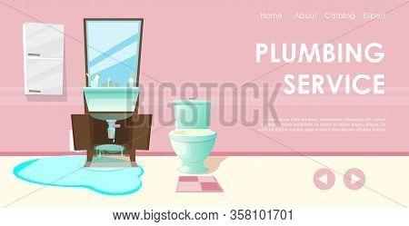 Professional Plumber Service Flat Cartoon Banner Vector Illustration. Sink Renovation In Bathroom, F