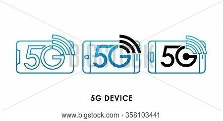 5G, 5G Device icon, 5G vector, 5G icon vector, 5G logo, 5G symbol, 5G sign, 5G icon design. 5G Device icon vector illustration. 5G connection vector template design. 5G network technology vector illustration for website, logo, app, UI.
