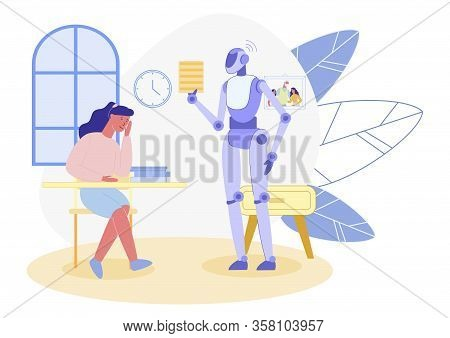 Smart Robot, Caring After School Age Girl, Helping Her With Home Task. Android, Commenting Its Charg