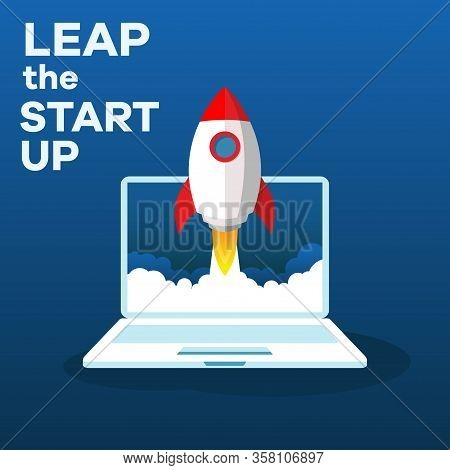Illustration Of A Start Up That Makes A Jump With A Rocket. Launch New Start Up Acceleration With Il