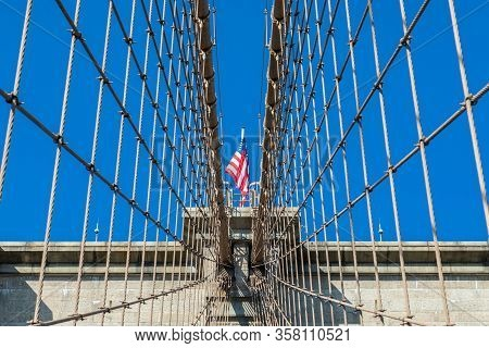 New York, Ny/usa - November 06, 2019: View Of Brooklyn Bridge With Diagonal Stays And Vertical Suspe