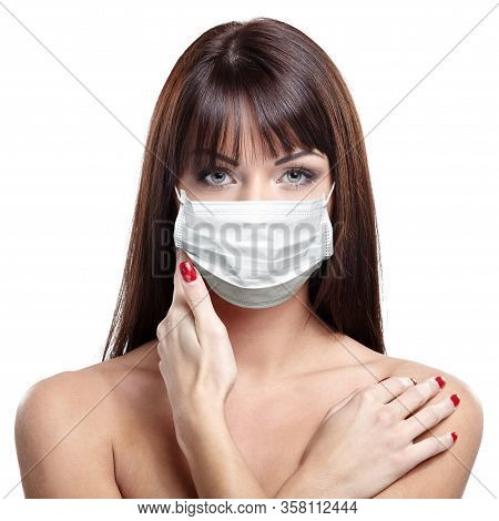 Corona Virus Concept. Woman In Protective Mask