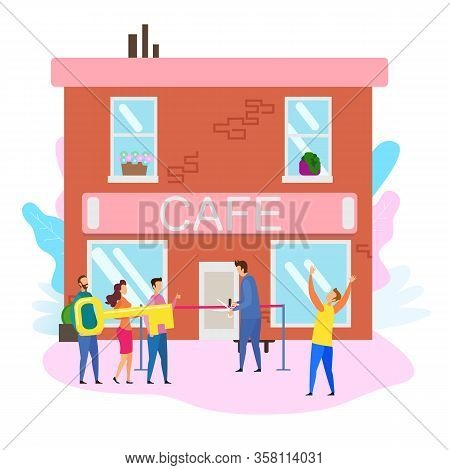 Cafe Opening Ceremony People With Key Male Owner Cut Red Ribbon Vector Illustration. Restaurant Shop