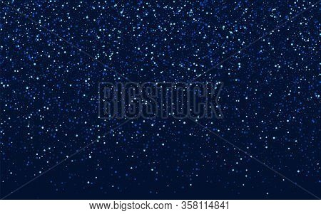 Blue Cosmos Digital Rain Pattern. Dark Shimmer Starry Design. Space Vector Texture. Silver Celebrati
