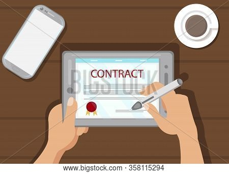 Digital Contract Signing Flat Vector Illustration. Modern Paperwork, Electronic Signature. Digital D