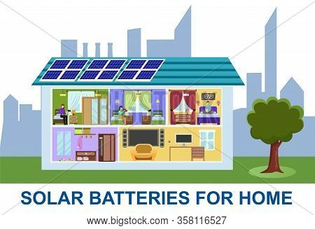Sectional View Building With Cartoon People In Room Vector Illustration. Family Home With Solar Batt