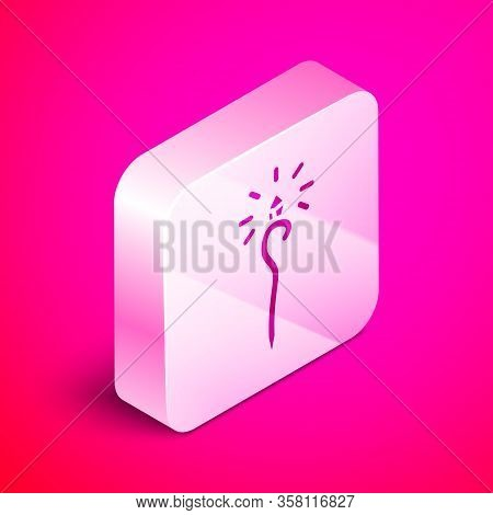 Isometric Magic Staff Icon Isolated On Pink Background. Magic Wand, Scepter, Stick, Rod. Silver Squa