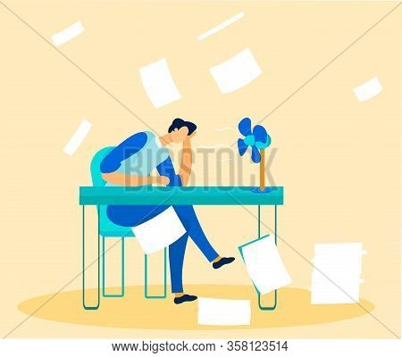 Stressed Tired Office Worker Overwhelmed By Paperwork And Tasks. Exhausted Executive Manager Sitting