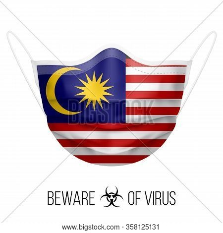 Medical Mask With National Flag Of Malaysia As Icon On White. Protective Mask Virus And Flu. Surgery