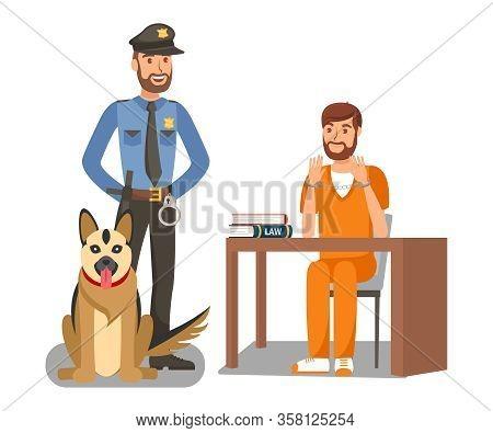 Policeman Guarding Criminal Vector Illustration. Cartoon Police Officer, German Shepherd Dog On Duty