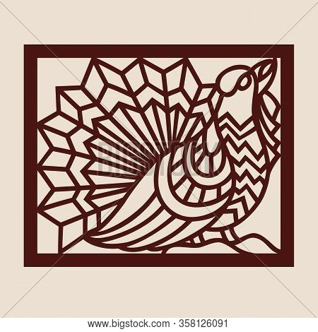 Template Capercaillie For Laser Cutting. Abstract Stylized Wood Grouse For Cut. Stencil For Decorati