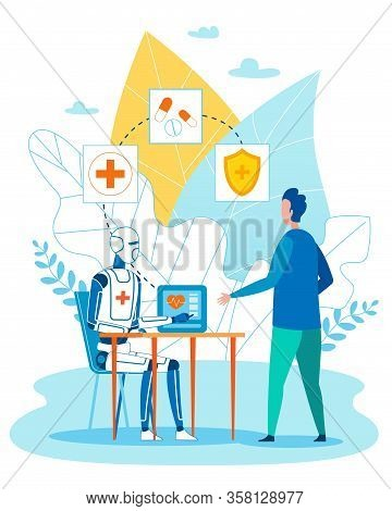 Smart Medical Consultation With Ai Robot Cartoon. Robotic Artificial Intelligence Character Advising