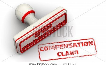Compensation Claim. The Seal. The White Seal And Red Imprint Compensation Claim On White Surface. 3d