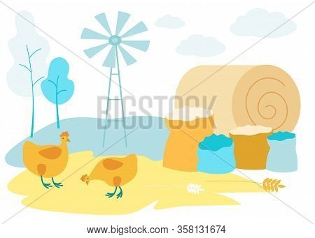 Two Hens On Field. Haystack And Sacks Grain. Vector Illustration. Natural Products. Harvest. Farm Pr