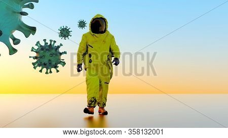 Hazmat Suit Corona Virus Covid-19 Protection With Protective Yellow Suit 3D Illustration