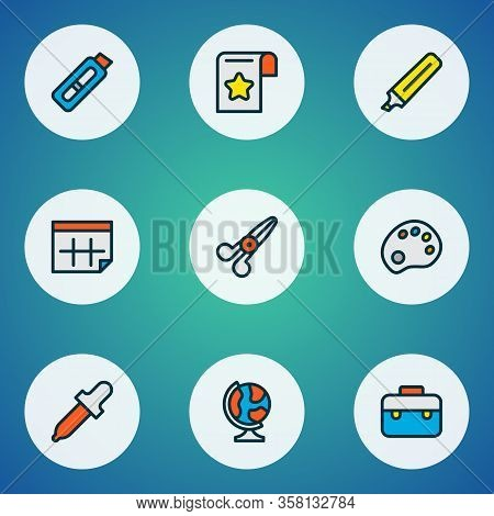 Stationary Icons Colored Line Set With Calendar, Palette, Cutting Knife And Other Date Elements. Iso