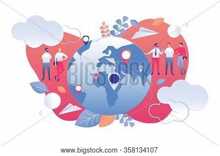 Vector Illustration Demographic Analysis Cartoon. Statistical Indicators Population Planet Using Wor