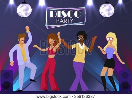 Happy Retro Dancers Group Moving On Dance Floor. Disco Party Neon Sign Above Stage. Cartoon People C