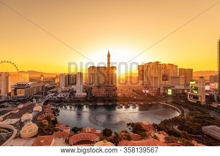 Las Vegas, Nevada, Usa - October 31, 2019: View Of Las Vegas Strip In The Rays Of The Rising Sun (vi