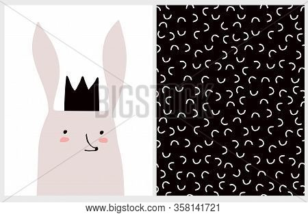 Cute Hand Drawn Vector Illustration With King Bunny. Sweet Nursery Art. Funny Rabbit In Black Crown