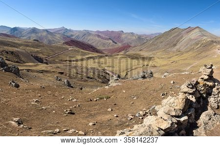 Lush Green And Red Valleys Around The Palccoyo Rainbow Mountains, Peru
