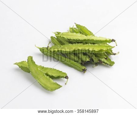 Bunch Of Winged Bean, The Tropical Vegetable Isolated On White Background