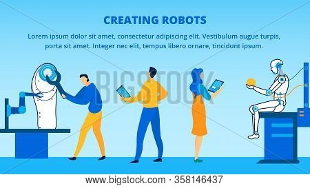 Creating Robot Process At Research Laboratory Vector Illustration. Banner With Place For Promotion T