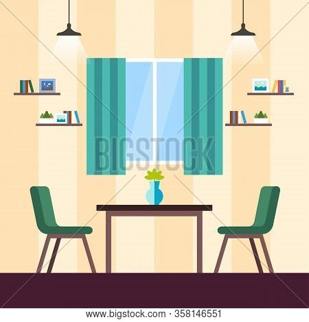 Coworking Living Room Interior, Cartoon Flat. Good Business Environment, Meeting Rooms. Coworking Av