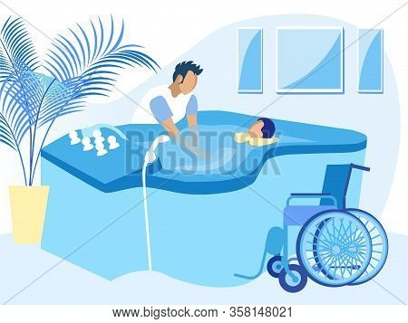 Disabled Woman Taking Therapeutic Bath Cartoon. Man Therapist Work With Handicapped Female Patient L