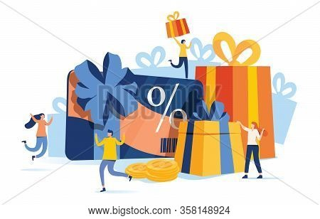 Gift Card And Promotion Strategy, Gift Voucher, Discount Coupon And Gift Certificate Concept. Vector