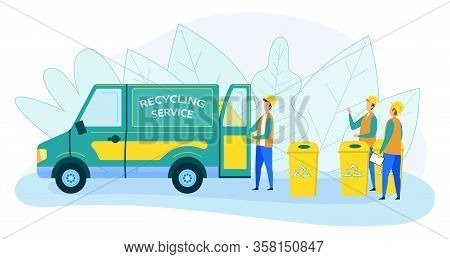 Municipal Recycling Service Workers Wearing Uniform And Helmet Loading Litter Bins To Garbage Truck