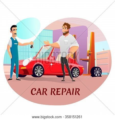 Car Repair Service Advertising Poster. Happy Master And Satisfied Client. Technician Or Mechanic In