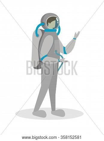 Spaceman, Cosmonaut Character In Spacesuit And Helmet Isolated On White Background. Futuristic Cloth