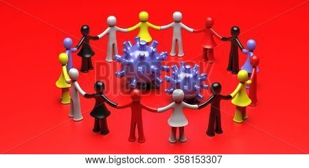 Human Figures Circle Holding Hands Around Coronavirus On Red Background. Solidarity Concept. 3D Illu