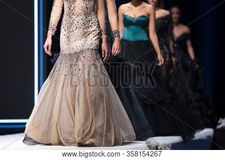 Sofia, Bulgaria - 18 September, 2019: Female Models Walk The Runway In Beautiful Designer Dresses Du